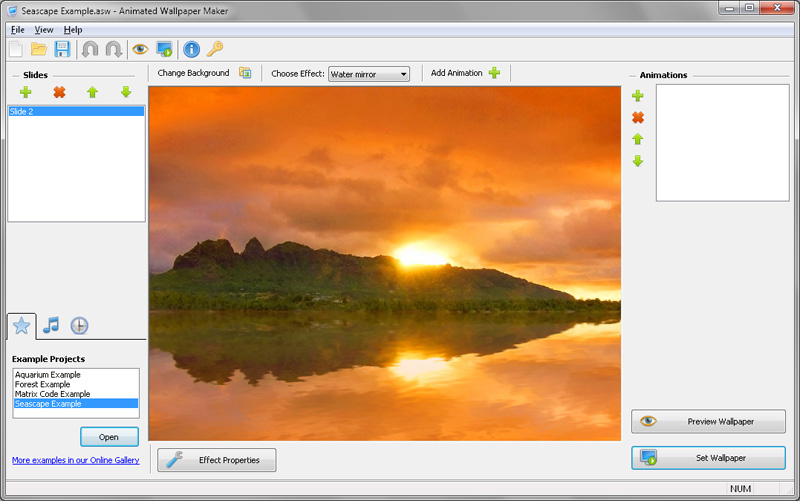 Click to view Animated Screensaver Maker 2.4.9 screenshot